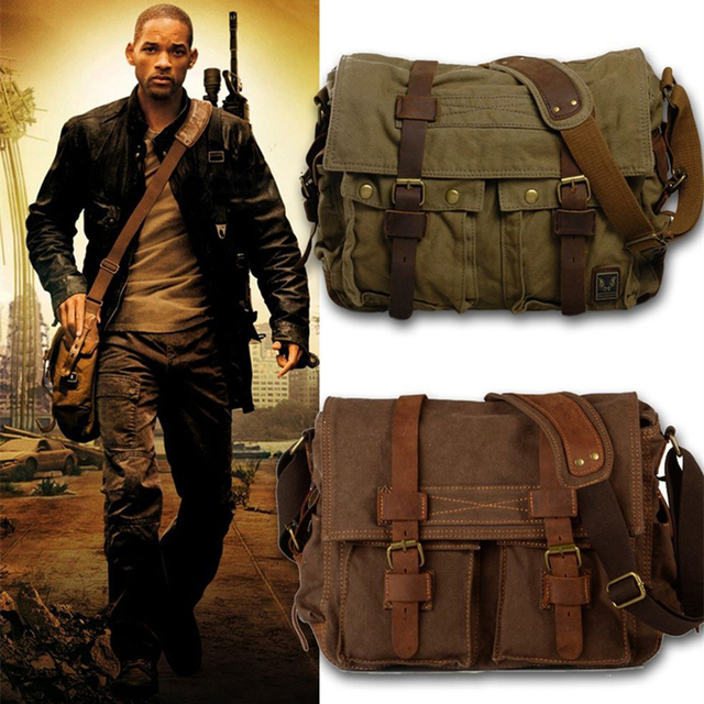 Burminsa Canvas Leather Men Messenger Bags I AM LEGEND Will Smith Big Satchel  Shoulder Bags Male