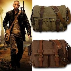 Burminsa couro da lona dos homens mensageiro sacos eu sou lenda will smith grande bolsa de ombro masculino portátil maleta viagem bolsa