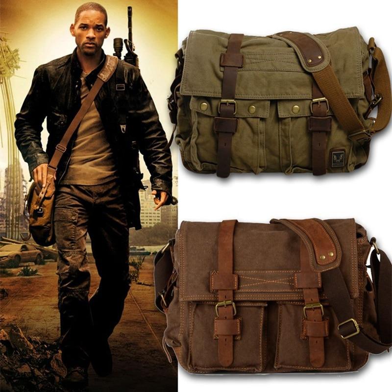 Burminsa toile cuir hommes Messenger sacs I AM LEGEND Will Smith grande sacoche sacs à bandoulière homme sacoche pour ordinateur portable sac à main de voyage