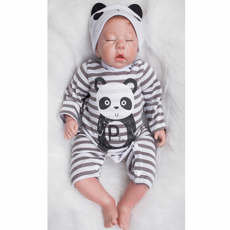 With Panda Romper 20 Inch Reborn Baby Dolls Soft Silicone Newborn Sleeping Babies Toy Lifelike Doll With Hair Kids Birthday Gift pink romper 20 inch reborn babies girl lifelike silicone newborn dolls realistic doll toy with blue eyes kids birthday xmas gift