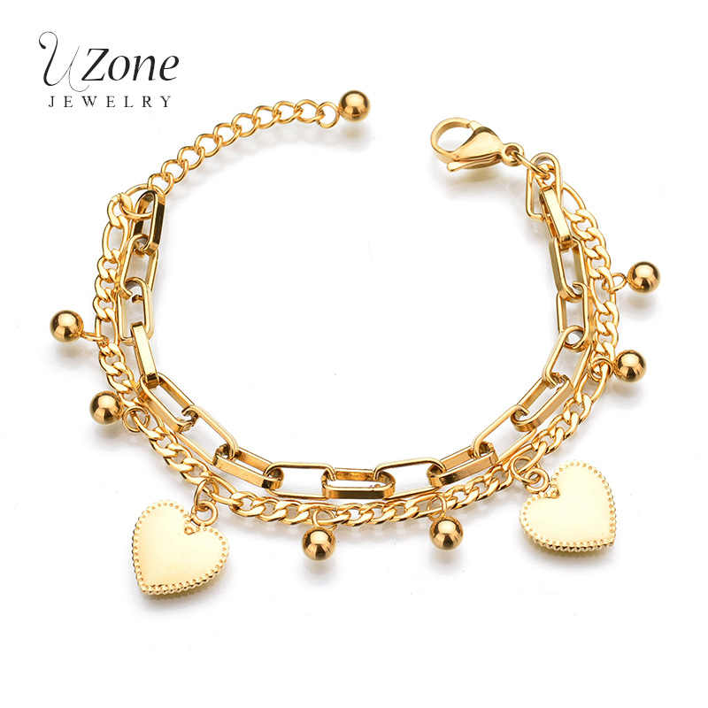 Trendy Personality Jewelry Multilayer Extension Chain Bead Heart Gold Color Bead Stainless Steel Bracelets For Women Gift