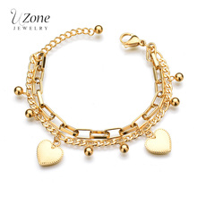 Trendy Personality Jewelry Multilayer Chain Bead Heart Gold Color Stainless Steel Bracelets For Women Gift
