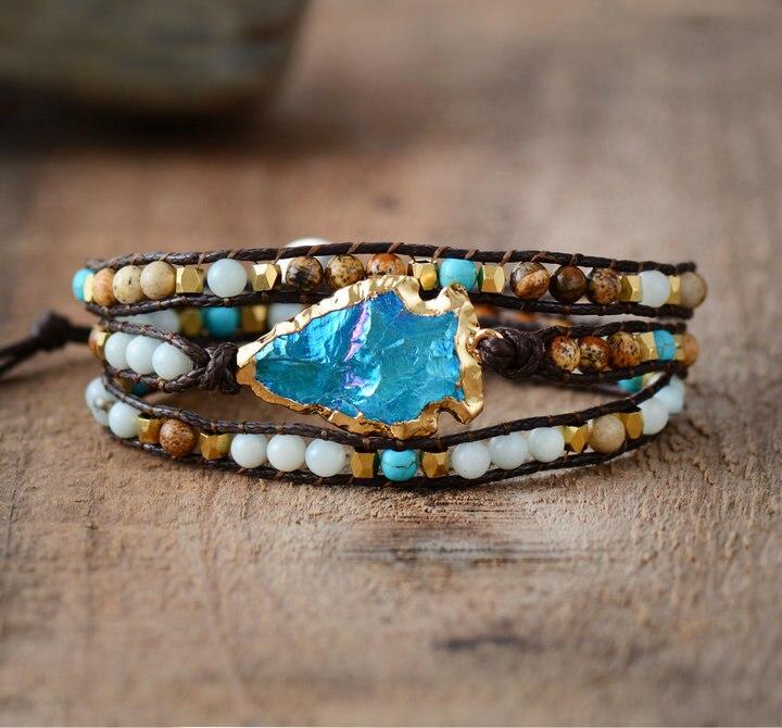Wrap Bracelets Natural Stones Gilded Arrowhead Quartz Charm 3 Times Friendship Bracelet Boho Bracelet Dropshipping bracelet