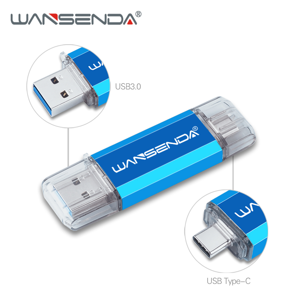 Wansenda  OTG USB Flash Drive USB3.0 + Type-C Pen Drive 256GB 128GB 64GB 32GB 16GB 2 In 1 Pendrive For PC/Android With Type-C