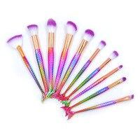 Professional 10Pcs Mermaid Makeup Brushes Eye Lip Foundation Powder Brushes Beauty Unicorn Brush Fishtail Sereia Makeup