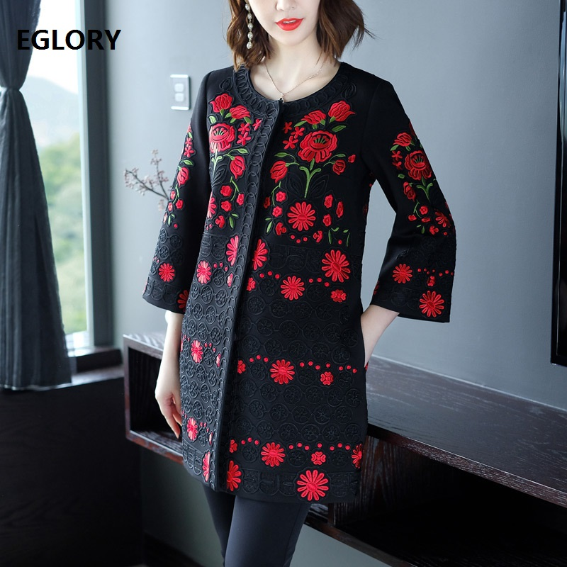 XXXXL Coat   Trench   2018 Autumn Winter Outerwear & Coats Women Allover Luxurious Embroidery Wide-waisted Vintage Coat Oversize