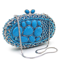 red/blue/green Rhinestones  Women Crystal Evening Clutches Bags Wedding Prom Party Bride Clutch Purse Metal Minaudiere Handbag недорого