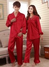 Faux silk sleep lounge Rayon pajama sets  for men women  sleepwear  red marriage wedding pijamas lady's pyjamas female homewear