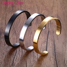 Granny Chic Hotsale Silver/ Gold/ black 8/6mm Stainless Steel Fashion Half Cuff Bracelet Bangle For Men Women's Jewelry