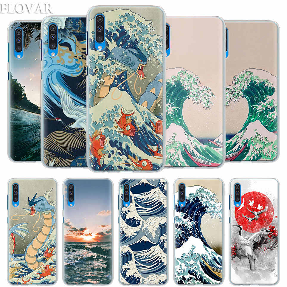 Wave Art Japanese Green Illust Case Cover for Samsung Galaxy A30 A40 A50 A70 A6 A8 Plus A7 A9 2018 M30 Phone Case Coque