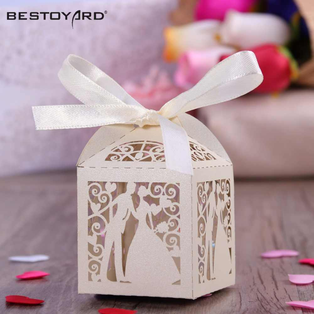 Couple Design Luxury Lase Cut Wedding Sweets Candy Gift Favour Boxes with Ribbon Table Decorations (Creamy-white)