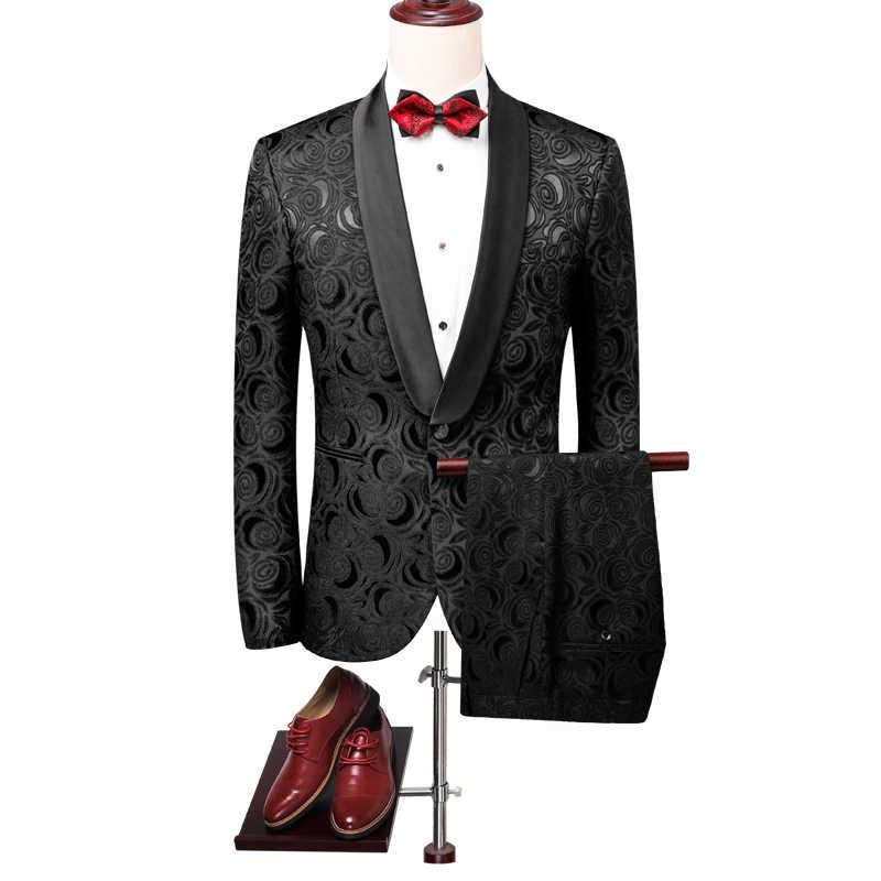 2019 新メンズツーピースセットアジアサイズ S-5XL 白人男性スーツのジャケットとパンツ黒ジャカード生地