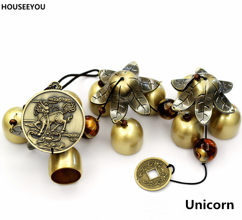 KSTE Windspiele Windspiele China Home Decor Farbe : Elephant viel Gl/ück Feng Shui Bronze Farbe Glocken Vintage Bl/ätter Elephant Auspicious Hanging Ornament