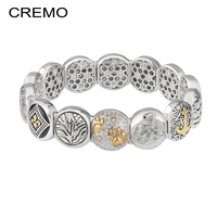 Cremo Anchor Charm Bracelet For Women Tree of Life Elastic Modular Link Jewelry Viking Bracelet Zircon Swan Footprint Bracelets