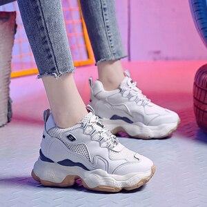 Image 4 - Donna Casual scarpe Traspirante Chunky Scarpe Da Ginnastica 9 centimetri Altezza Aumentare Scarpe Da Tennis Della Piattaforma Casual Ascensore Scarpe Degli Appartamenti Delle Signore scarpe Da Ginnastica