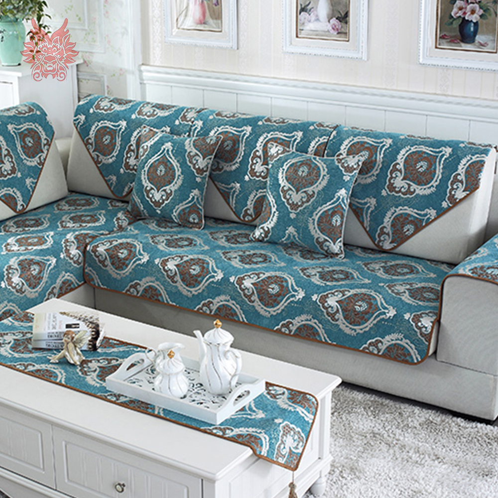 Classic Grey Blue Floral Jacquard Embroidery Sofa Cover