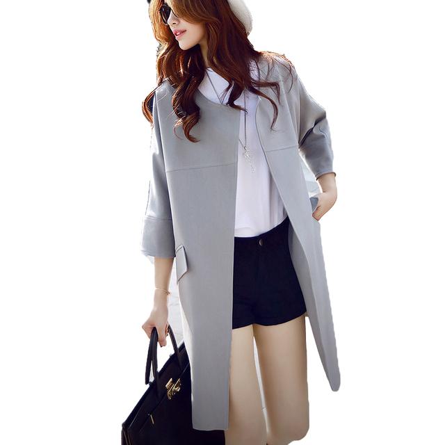 2016 Nova Primavera e Outono Mulheres Coreano Magro Soild Longo Blusão Jaqueta Casual Três Quartos Mulher Casacos Elegantes ST077