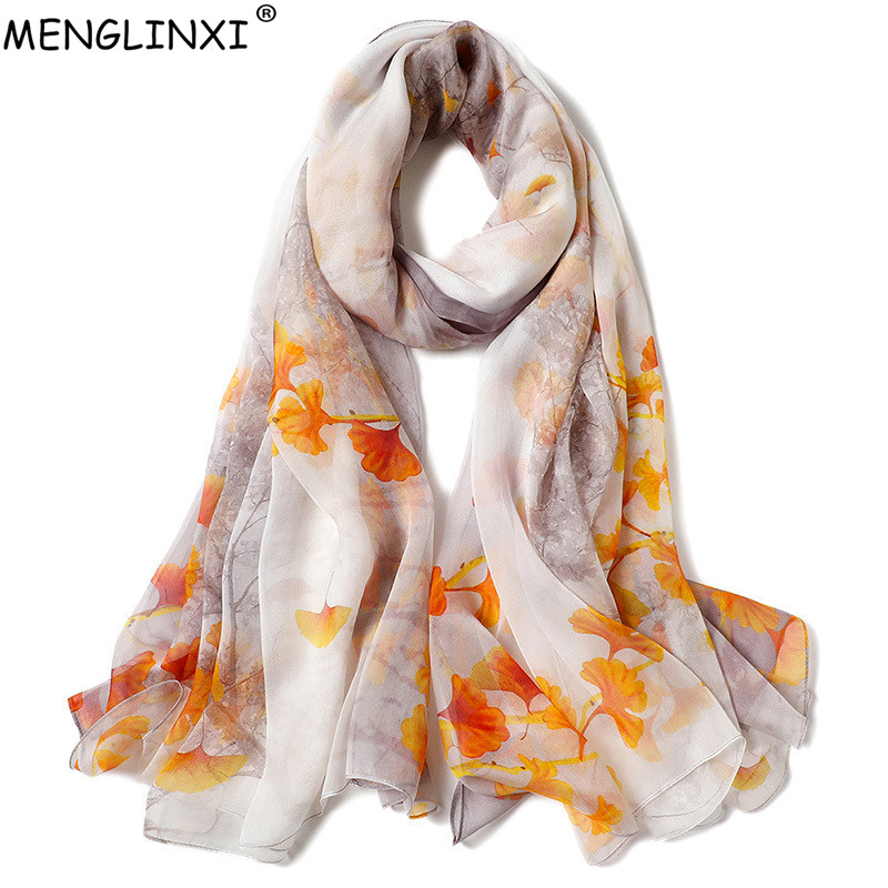 2019 New Thin Gauze 100% Silk Scarf Pure Silk Spring Scarf Shawl Natural Silk Scarf For Women Fashion Luxury Scarves Wraps