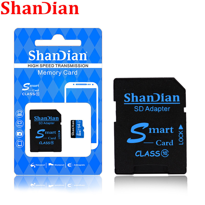 Shandian High Quality  Micro SD Card 4GB 8GB 16GB 32GB 64GB 128GB Memory Card TF Card Free SD Adapter Retail Package