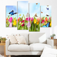 2017 Direct Factory Price!modern Wall Art Decor 4 Piece Tulip And Butterfly Flower Picture Print Living Room Paintings Canvas