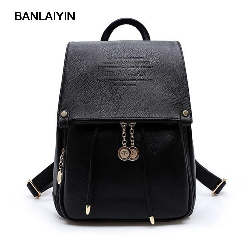 PU Leather Women Backpack Casual School Bags For Teenagers Girls Female Travel Back Packs