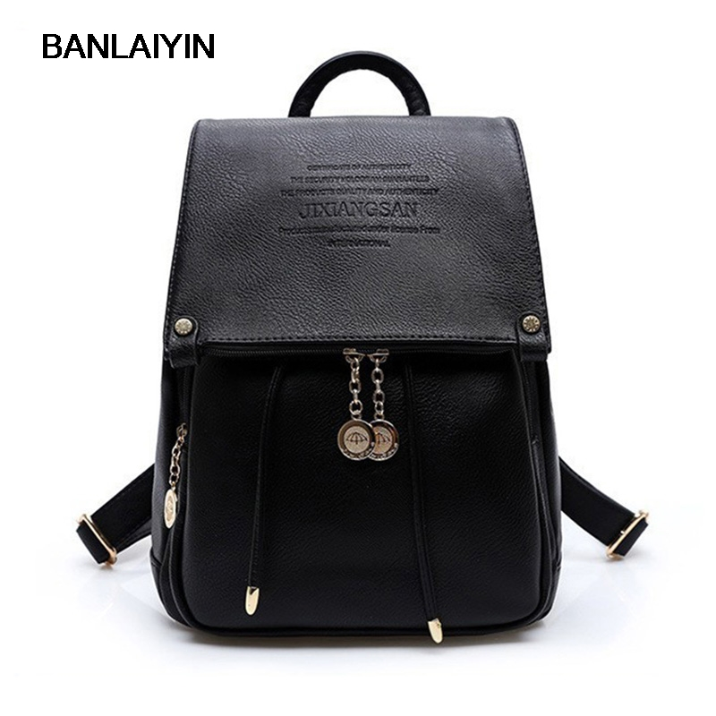 PU Leather Women Backpack Casual School Bags For Teenagers Girls Female Travel Back Pack ...