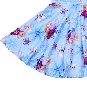 Image 3 - Karikatür Karakter Baskı Çocuk Giyim Kısa Kollu Önlük Frocks Kızlar Burgu Elbiseler Çocuklar Mavi Parti Twirl Elbise Milksilk