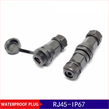 10pcs IP67 RJ45 Ethernet Waterproof Adapter Socket Connector Panel Mount Outdoor Straight-through Joint Plug стоимость