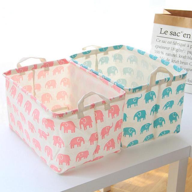 Cartoon Elephant Storage Barrels Foldable Washing Clothes Laundry Basket  Bag Organiser Waterproof Kids Toys Storage Bucket