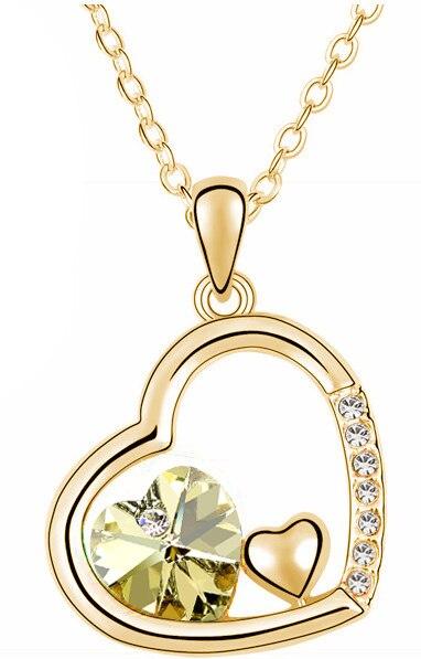С фабрики Самая низкая цена GP Мода австрийский кристалл океана сердце ожерелье кулон Модные ювелирные изделия 83004 - Окраска металла: gold yellow