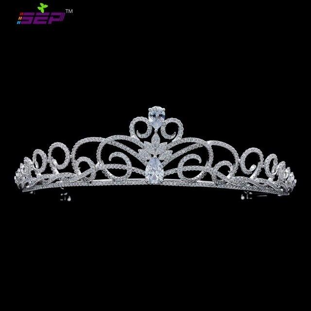 2017 New Classic Wedding Brides Tiara Crown Hair Jewelry Accessories CZ Rhinestone Crystal Tiara Party Jewelry TR16221