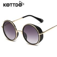 Gafas de Sol de moda Para Las Mujeres Retro Gran Marco Redondo Del Metal de la Marca diseño Negro Gafas de Sol de Lujo de Las Señoras de Conducción gafas de sol mujer