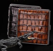 Crocodile Pattern Design Cigarette Case 20pcs Portable Metal High-grade Boxes Genuine Leather Holder Z602