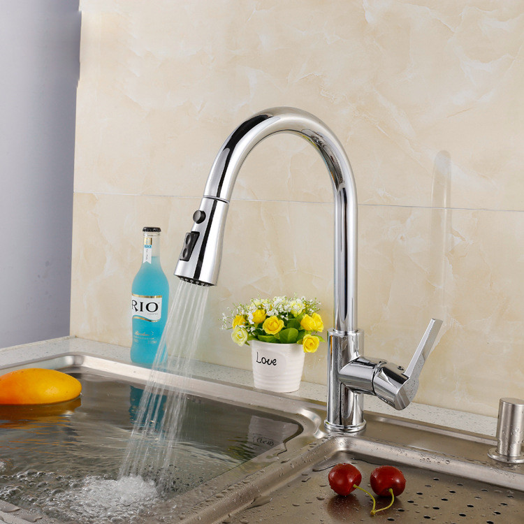 Mulit Fuction pull out kitchen faucet with solid brass kitchen mixer tap by polished chrome mixer tapMulit Fuction pull out kitchen faucet with solid brass kitchen mixer tap by polished chrome mixer tap