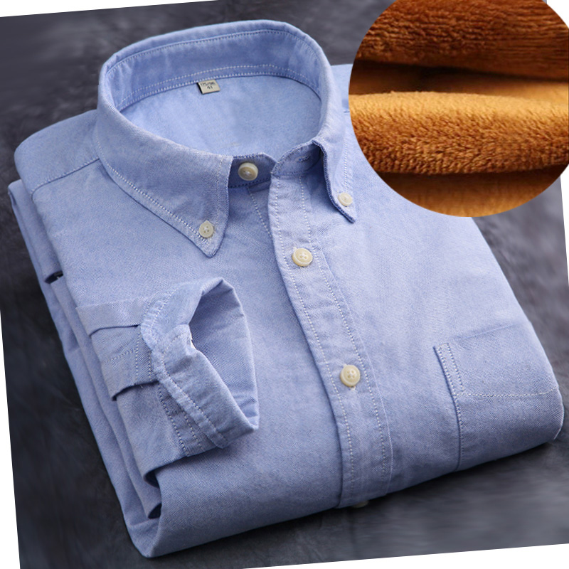 M 5xl Warm Plus Thick Velvet Cotton Striped Shirt Men Long Sleeve