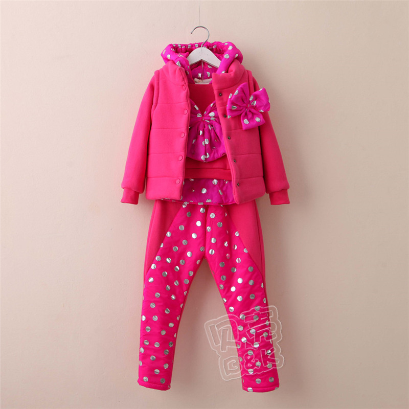 2015 winter Korean version new styles girls polka dot bow long sleeve pullover long pants and hooded vest sets TZ-2071 боди patrizia pepe patrizia pepe pa748ewylk90
