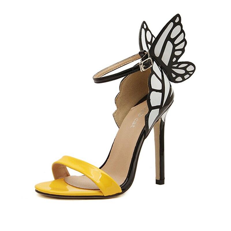 2017 Fashion Sweet Thin High Heels Women Pumps Butterfly Win Heels Sandals Sexy Wedding Shoes Open Toe Party Yellow Purple Green цены онлайн