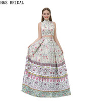 H S BRIDAL Two Pieces Print Pattern Prom Dresses High Neck Long Dresses For Prom Elegant
