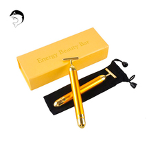 Купить с кэшбэком High Quality Face 24k Vibration Facial Beauty Bar Skin Pulse Firming Facial Roller Massage Lift Skin Tightening Wrinkle Stick
