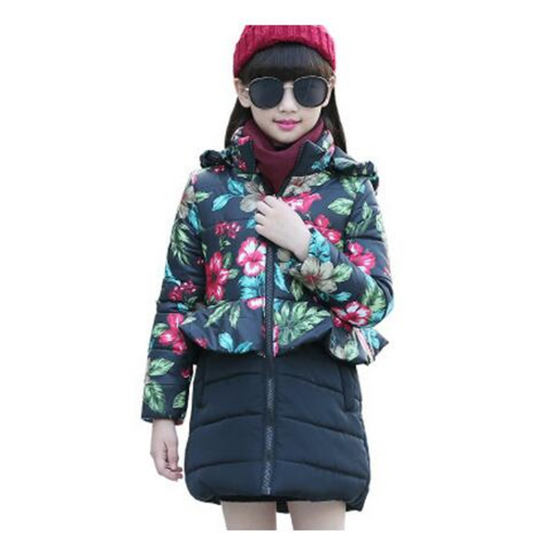 2017 Brand Girls Winter Warm Flower Print Long Coat Hooded Girl School Fashion Down Jackets Cotton Padded Kid Winter Clothes plus size 5xl down cotton long coat female costume 2017 fashion boutique black warm jackets casual hooded slim coat okxgnz a969
