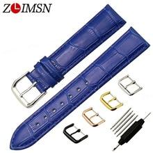 ZLIMSN Blue Genuine Leather Watchbands 12 14 16 18 20mm Women Watch Strap Rose Gold Silver Buckle Replacement Watch Accessories