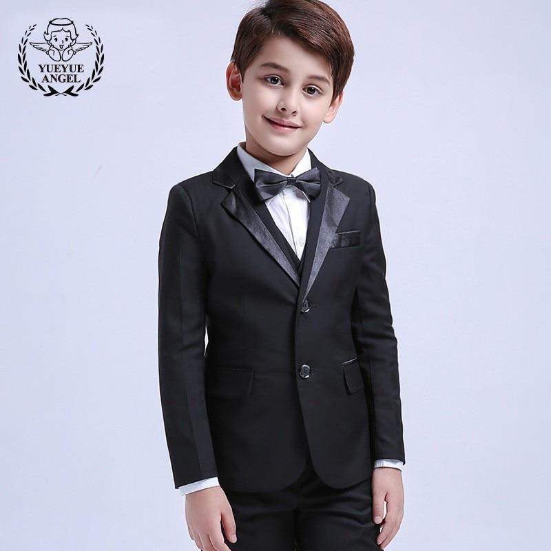 все цены на 2018 Top Brand Black Boys Suits Wedding Boy Bow Formal 5 Piece Set Lapel Long Sleeve Jacket Pants White Shirt Kids Suits 2T-12T онлайн