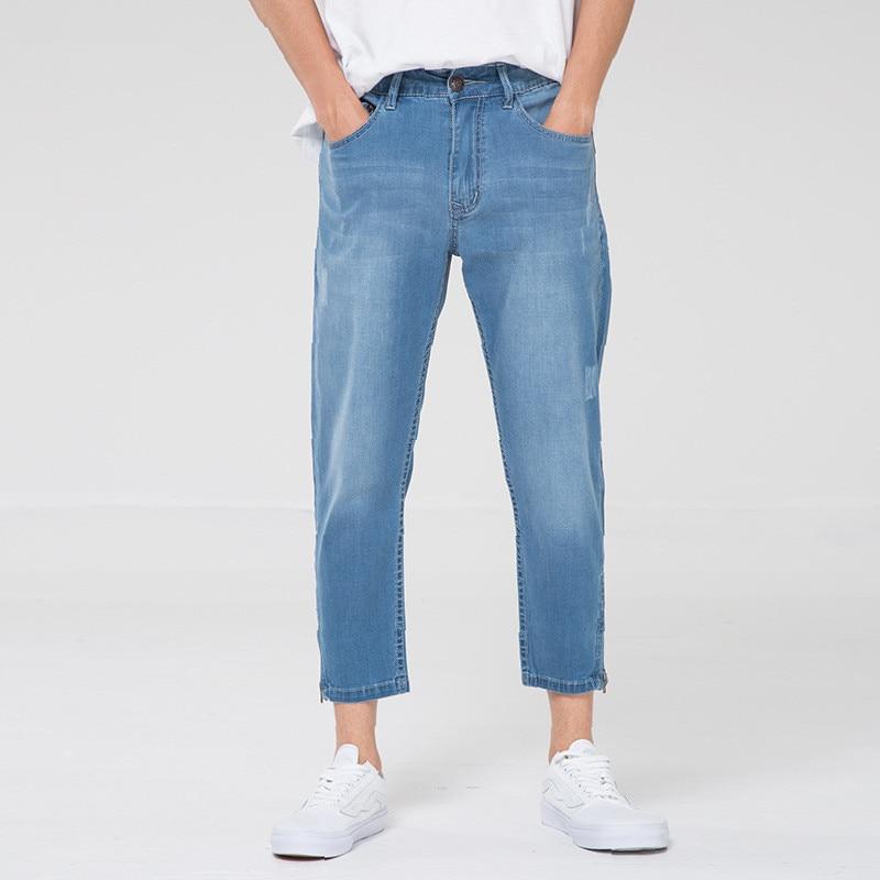 Summer Autumn Split Jeans Men's Baggy Cowboy Nine Minute Trousers Casual Jeans Plus Size 48 Denim Trousers Men Bottoms