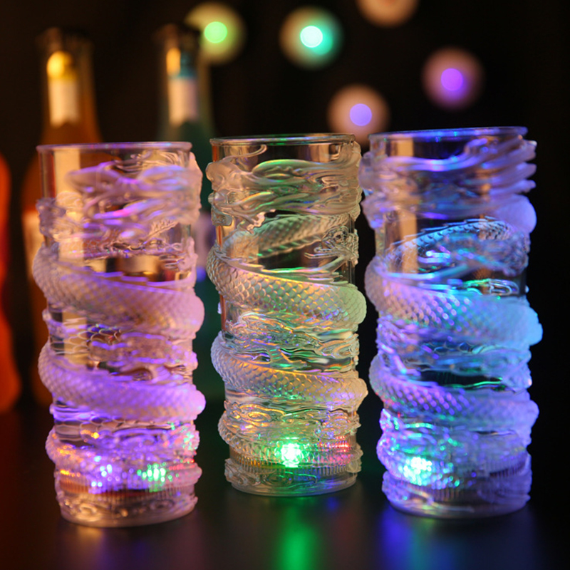 Wedding Decorations LED Dragon Flashing Mug Inductive Rainbow Party Beer Drinking Luminous Mug Bar Tool Color Flashing Light