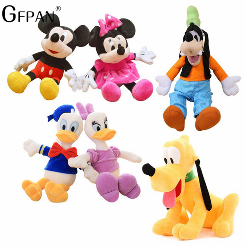 2pcs/lot 30cm Minnie&Mickey Mouse Daisy Donald Classical Soft Plush Cartoon Figure Doll Stuffed Animals Best Toys For Children