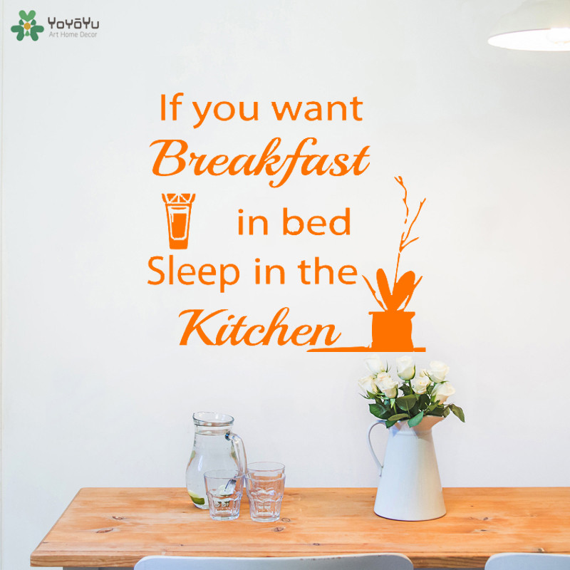 YOYOYU Wall Decal Funny Kitchen Decoration Accessories Quote Breakfeast Bed Sleep Kitchen Wall Stickers Removable Decor DIYCT649 in Wall Stickers from Home Garden