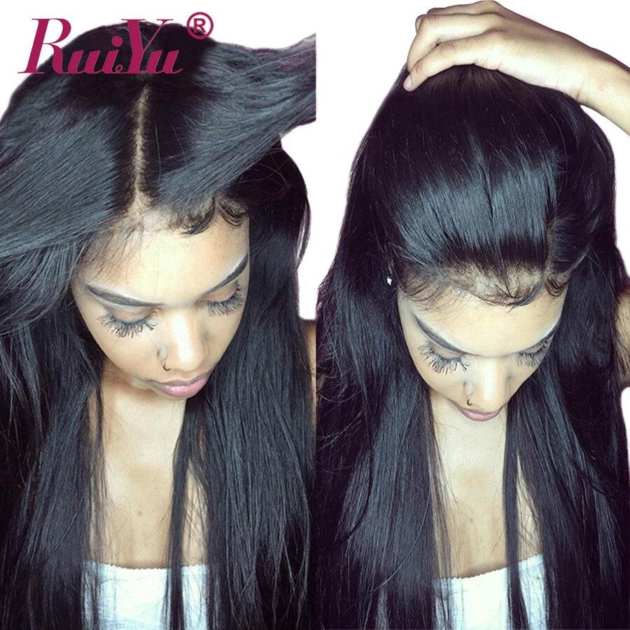 RUIYU 13x6 Синтетические волосы на кружеве натуральные волосы парики для женский, черный перуанский прямо кружева парик предварительно сорвал ...