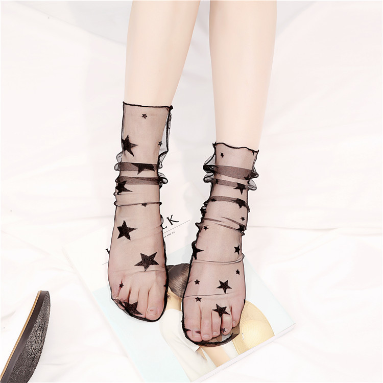 Japanese Women Girls Transparent Socks Harajuku Dot Star Pattern Korean Crystal Silk Sox Art Kawaii Funny Novelty Short Socks