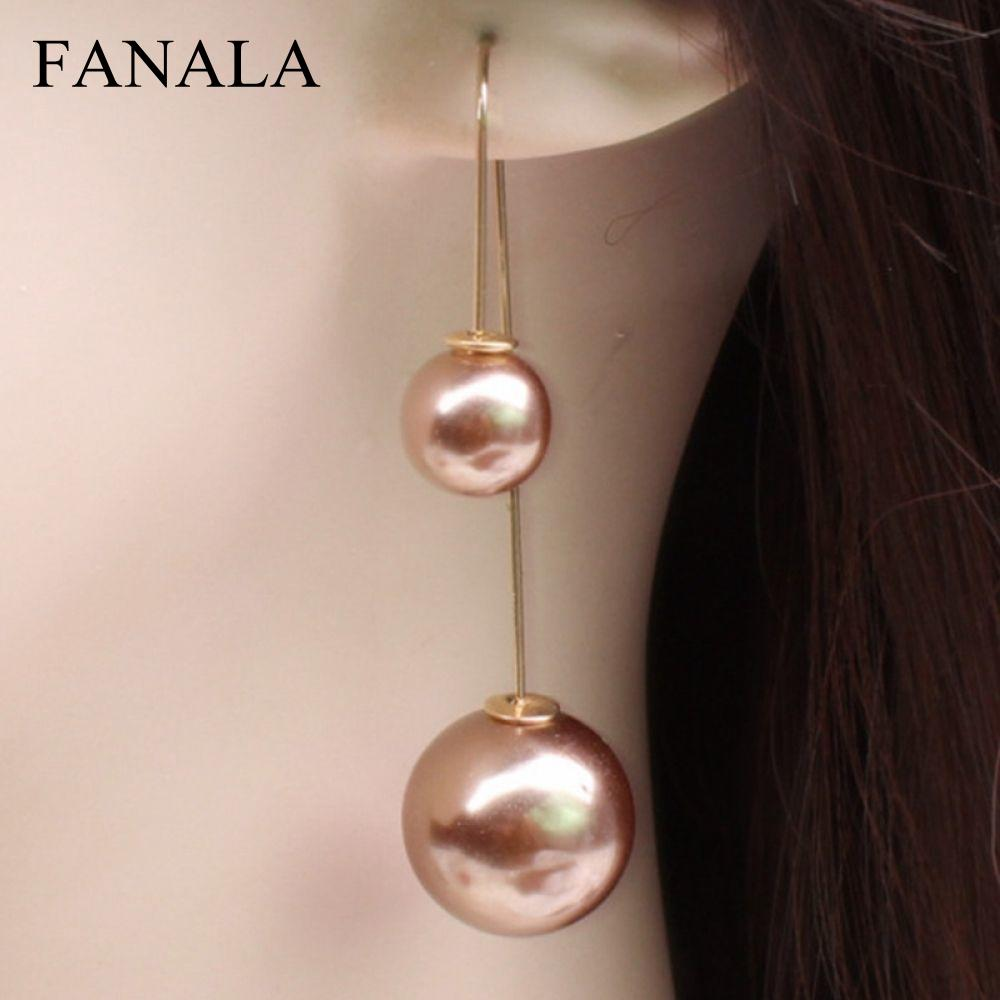 Us 0 53 28 Off Hot Korean Double Sided Long Pearl Earrings Fashion New Wedding U Shaped Whole Jewelry In Stud From