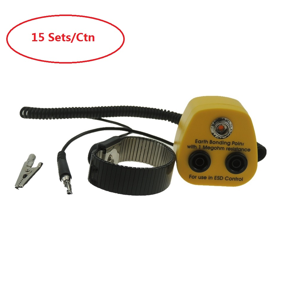 15 Sets Esd Metal Wristband Grounding With Earth Bonding Plug Antistatic Wrist Strap Esd Ground Socket Anti Static Grounding Moderate Cost